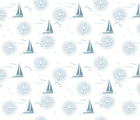 Winter Beach Collection - Sailboats &amp; Compass Rose