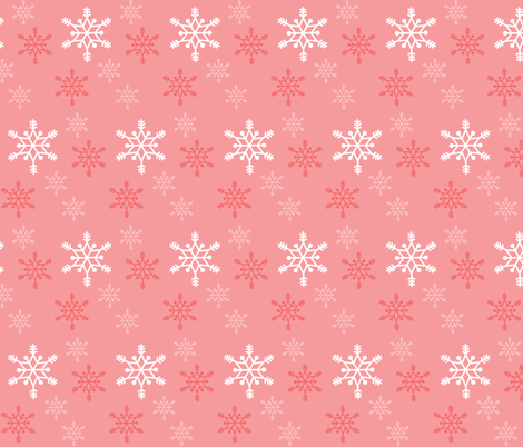 Snowflakes - coral fabric by little_fish on Spoonflower - custom fabric