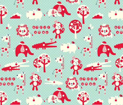 Jungle Christmas fabric by amel24 on Spoonflower - custom fabric