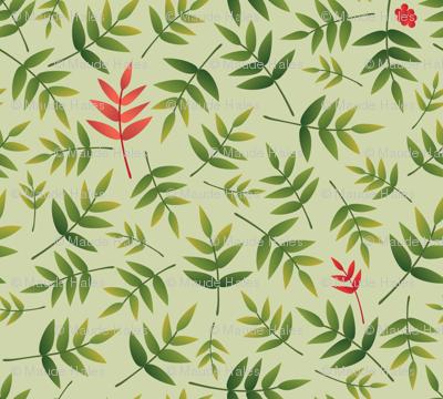 Nandina leaves on PaleGreen