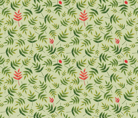 Nandina leaves on PaleGreen fabric by melhales on Spoonflower - custom fabric