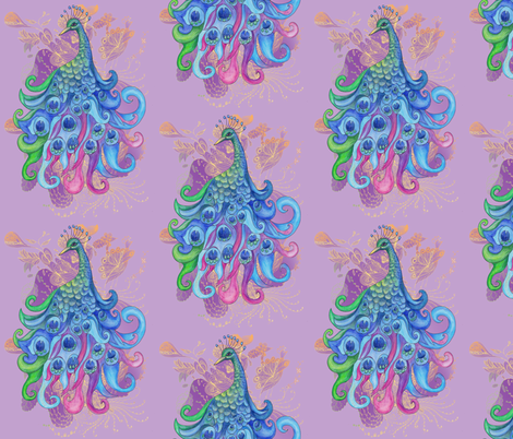 Lavender Peacock fabric by aftermyart on Spoonflower - custom fabric