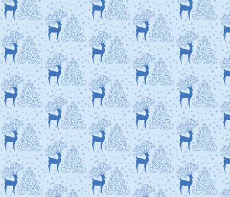 Swirly Reindeer  fabric by studiofibonacci on Spoonflower - custom fabric