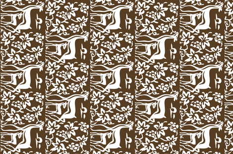 Arts & Crafts deer & grapes - vector - teatowel - dk brown-29 fabric by mina on Spoonflower - custom fabric