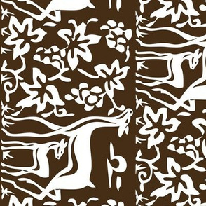 Arts &amp; Crafts deer &amp; grapes - vector - teatowel - dk brown-29