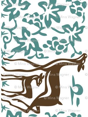 Arts & Crafts deer & grapes - reverse - vector - teatowel - dk brown-29 bluegreen-175 - white