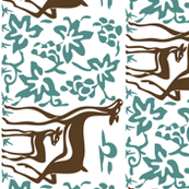 Arts & Crafts deer & grapes - reverse - vector - teatowel - dk brown-29 bluegreen-175 - white