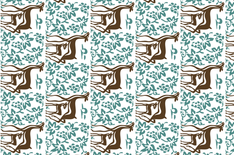 Arts & Crafts deer & grapes - reverse - vector - teatowel - dk brown-29 bluegreen-175 - white fabric by mina on Spoonflower - custom fabric