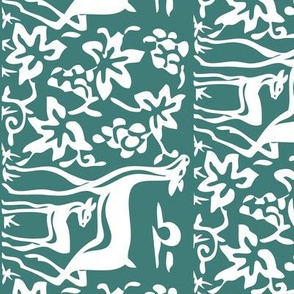 Arts &amp; Crafts deer &amp; grapes - vector - teatowel - bluegreen-175