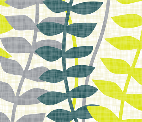 matisse inspired - lime, teal and gray colorway fabric by ravynka on Spoonflower - custom fabric