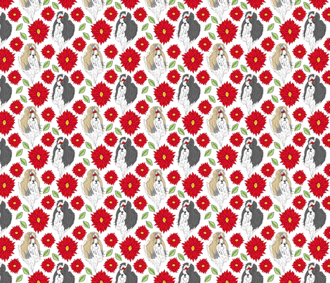 Shih Tzu and Chrysanthemum - red fabric by rusticcorgi on Spoonflower - custom fabric
