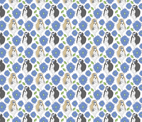 Shih Tzu and Chrysanthemum - blue fabric by rusticcorgi on Spoonflower - custom fabric