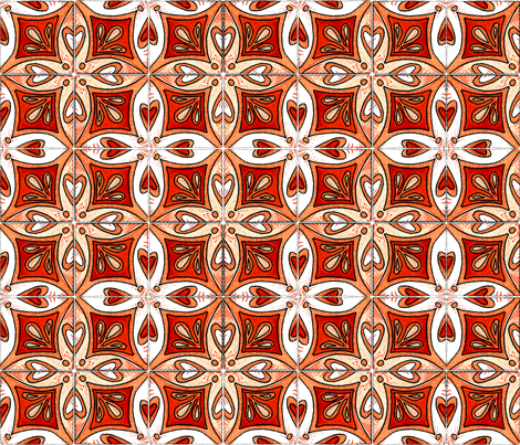Tile Heart Orange fabric by martaharvey on Spoonflower - custom fabric