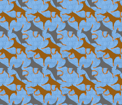 Trotting Dobies - blue fabric by rusticcorgi on Spoonflower - custom fabric