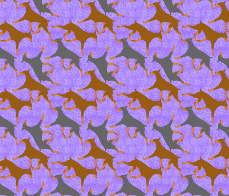 Trotting Dobies - purple fabric by rusticcorgi on Spoonflower - custom fabric