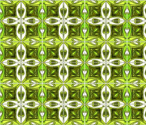 Tile Heart Green fabric by martaharvey on Spoonflower - custom fabric