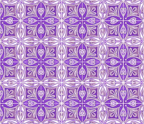 Tile Heart Purple Glow fabric by martaharvey on Spoonflower - custom fabric