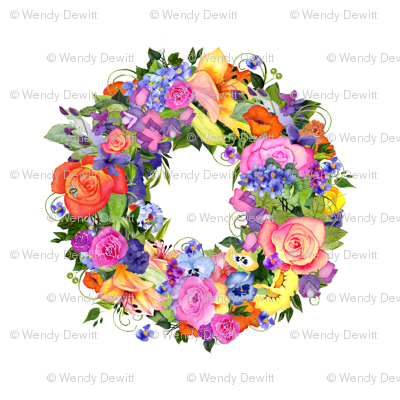 Watercolor Flower Wreath