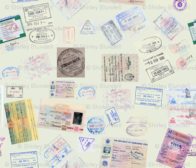Passport Stamps-green