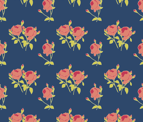 French Rose Paper Cut Out fabric by horn&ivory on Spoonflower - custom fabric