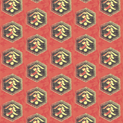 Kanji - red/moss fabric by materialsgirl on Spoonflower - custom fabric