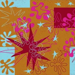 Matisse Inspired Hot Pink, light blue, burgundy