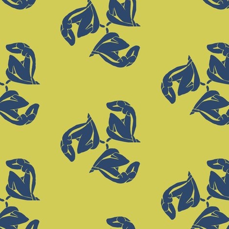Matisse papercut woman yellow blue fabric by sydama on Spoonflower - custom fabric