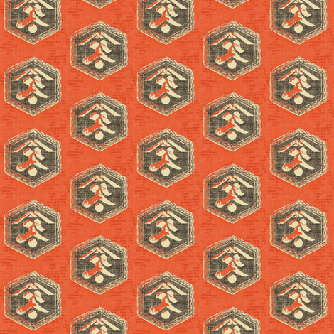 Kanji : red/orange, charcoal and cream fabric by materialsgirl on Spoonflower - custom fabric