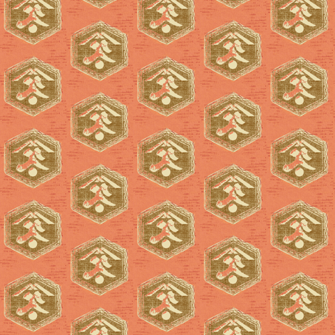 Kanji - peachy-pink, brown and cream fabric by materialsgirl on Spoonflower - custom fabric