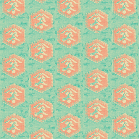 Kanji - aqua, turquoise and pink coral fabric by materialsgirl on Spoonflower - custom fabric