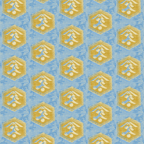 Kanji - light blue, mustard, cream fabric by materialsgirl on Spoonflower - custom fabric