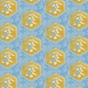 Kanji - light blue, mustard, cream