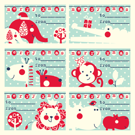 Jungle Christmas gift tags fabric by amel24 on Spoonflower - custom fabric