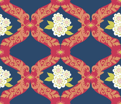 Matisse Damask fabric by carrietasman on Spoonflower - custom fabric