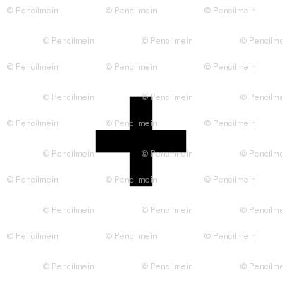 black cross on white