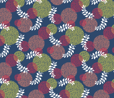 Curlball and Leaves fabric by siya on Spoonflower - custom fabric