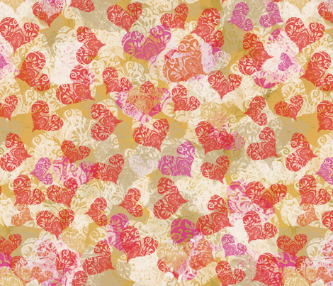 Valentine lace hearts -taupe fabric by wren_leyland on Spoonflower - custom fabric