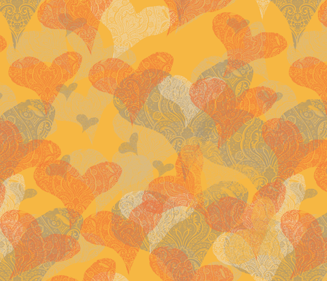 Golden Hearts fabric by wren_leyland on Spoonflower - custom fabric