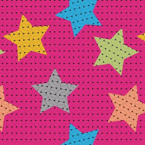 fabric_knitting_stars fabric by vannina on Spoonflower - custom fabric