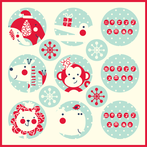 Jungle Christmas stickers fabric by amel24 on Spoonflower - custom fabric