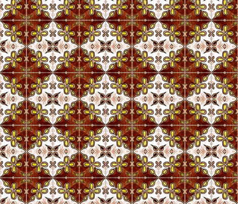 Tile Flowers Diamonds Brown fabric by martaharvey on Spoonflower - custom fabric