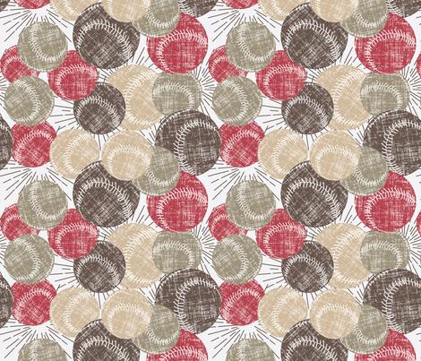 Baseballs - Red fabric by owlandchickadee on Spoonflower - custom fabric