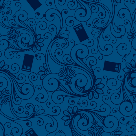 Blue on Blue Phone boxes fabric by risarocksit on Spoonflower - custom fabric