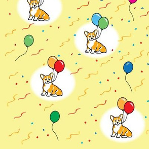 Corgi puppy with balloons