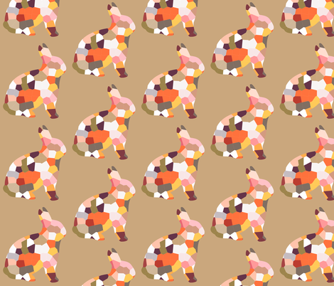geofetti 4 rabbit neutral fabric by nature_guild on Spoonflower - custom fabric