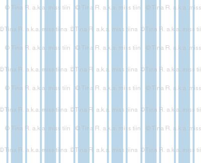 ticking stripes powder blue and white