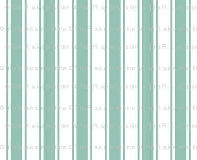 ticking stripes faded teal and white