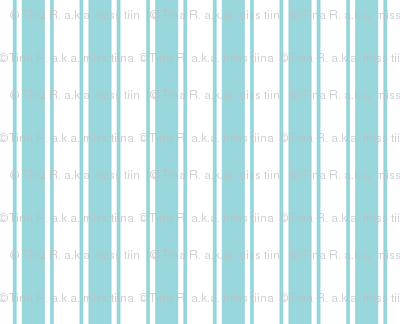 ticking stripes teal and white