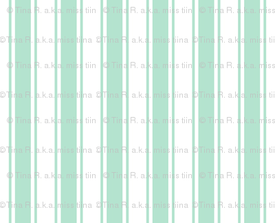 ticking stripes mint green and white