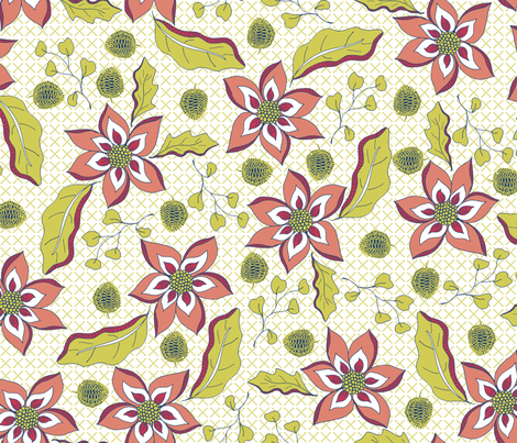 A Fauvist's Garden - on Green Lattice fabric by rhondadesigns on Spoonflower - custom fabric